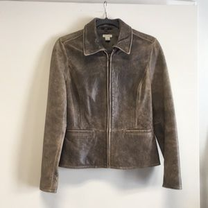 Halogen Brown Leather Jacket w Removable Collar